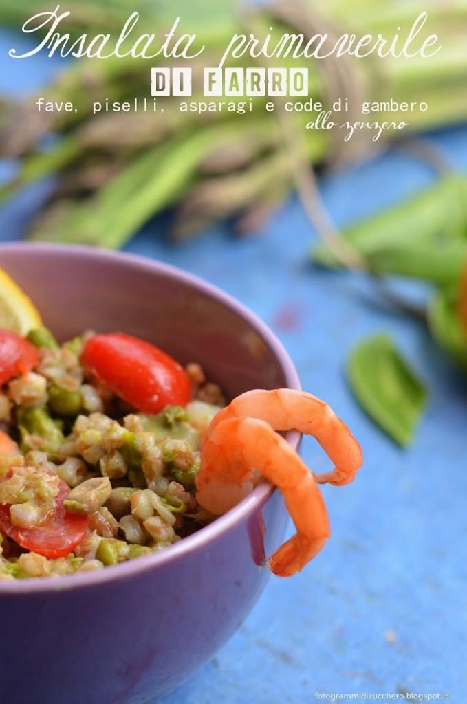 Insalata primaverile di farro, fave, piselli, asparagi e code di gambero allo zenzero