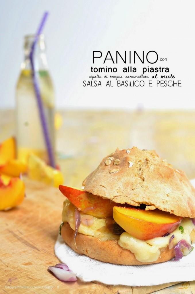 Panino con tomino alla piastra, cipolle di tropea caramellate al miele, salsa al basilico e pesche + panini al farro e yogurt con fiocchi d'avena