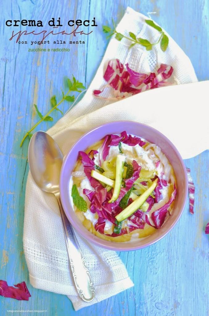 Crema di ceci speziata con yogurt alla menta, zucchine e radicchio