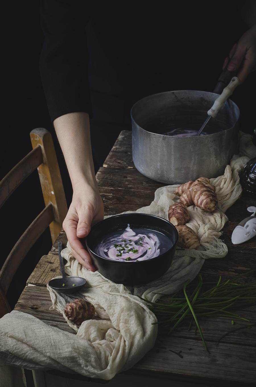 vellutata di cavolfiore viola e topinambur