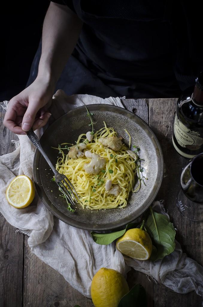 Tagliolini al limone, cavolfiore e mandorle (ricetta ispirata al vino Campofiorin di Masi)